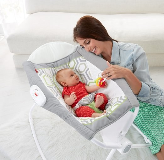 The Fisher Price Rock n' Play Sleeper helps your baby sleep at an incline and folds up for easy transportation.