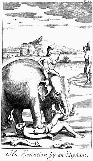 Aplastamiento por elefante, una ejecución que era bastante habitual.