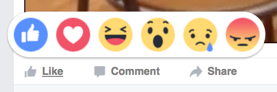 "Facebook now has emojis to select when you ""like"" something:"
