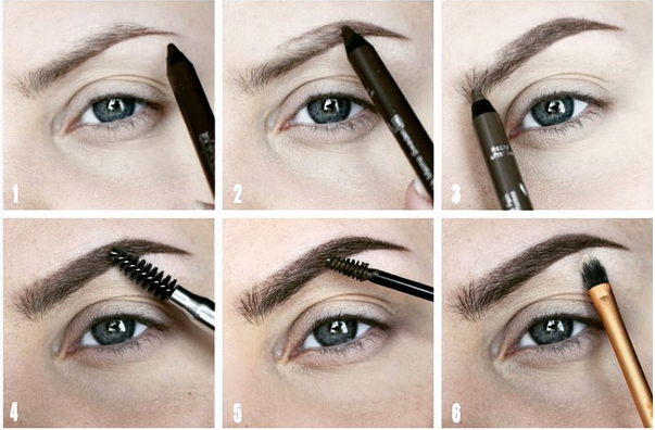 Start with pencil, blend everything with a spoolie brush, fill in with gel, then use a highlighter just underneath.