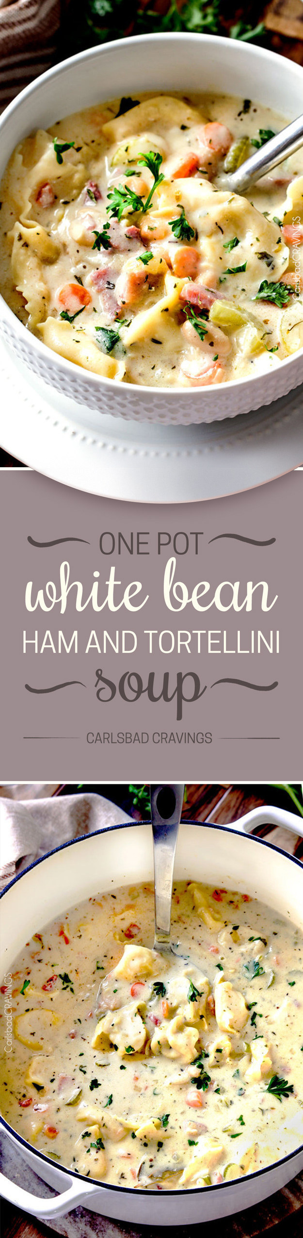 One Pot White Bean, Ham, and Tortellini Soup