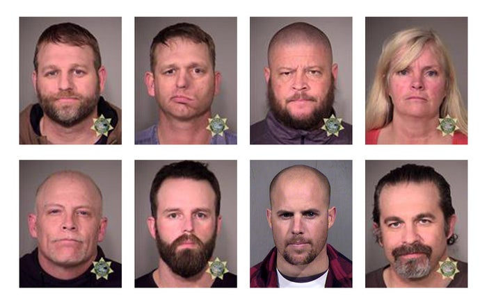 Mug shots of Ammon Bundy, top left, and other people arrested for their participating in the Oregon standoff.