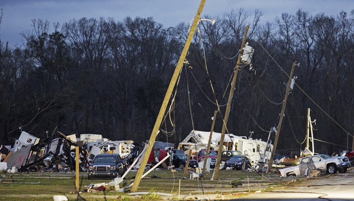 Damage at the Sugar Hill RV Park is scattered in Convent, La., on Wednesday.