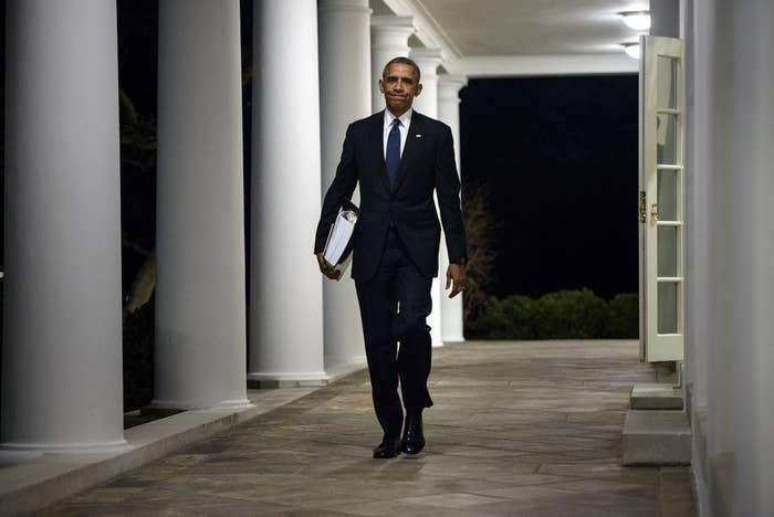 President Obama walks from the West Wing to the residence of the White House with a binder of potential Supreme Court nominees on February 19, 2016.