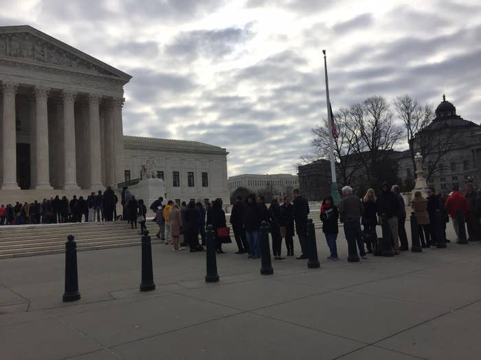 The scene outside the Supreme Court building on the morning of February 22, 2016.