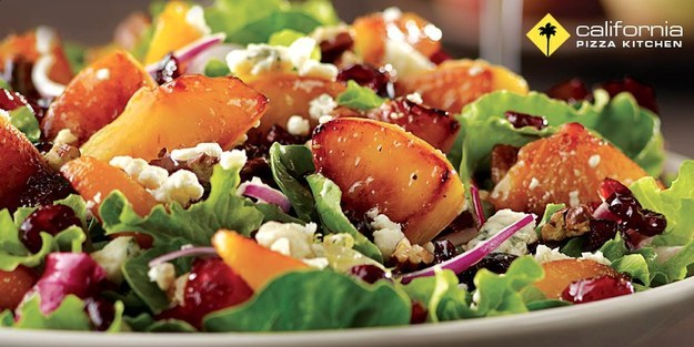 California Pizza Kitchen's Caramelized Peach with Salmon Salad