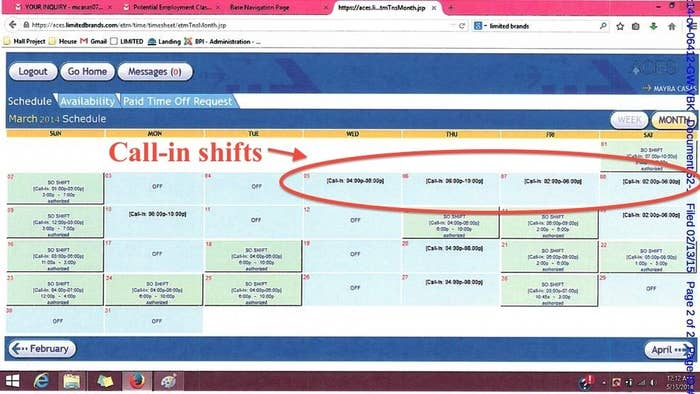 Example of how call-in shifts can be scheduled, from the Victoria's Secret lawsuit.