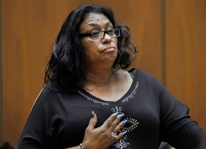 Enietra Washington pauses to compose her thoughts during a court hearing on Feb. 6, 2015.