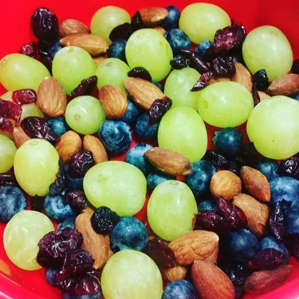 Serving size: ¼ cup nuts (almonds, walnuts, cashews, peanuts)½ cup fresh fruit or ¼ cup dried fruit