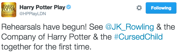 According to the official Twitter account of Harry Potter and the Cursed Child, the eighth Harry Potter story has officially started rehearsals.