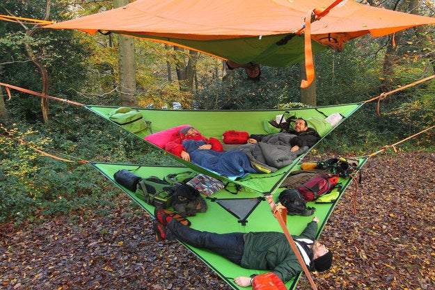While you don't have to stack the hammocks like this, it sure looks way cooler when you do. Leaving the top hammock to pee has never been more difficult! They also offer this in tent form for those looking for more coverage.