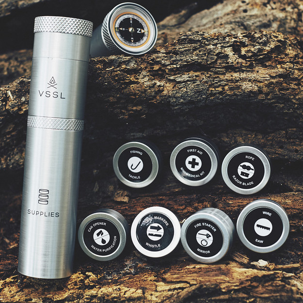 VSSL Supplies ($45-$99) a water resistant flashlight that also holds crucial survival gear inside it.