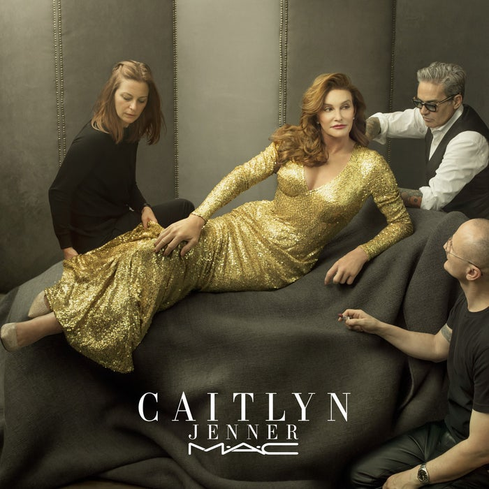 In the advertisement for the lipstick, above, Caitlyn is wearing the rosy nude shade.