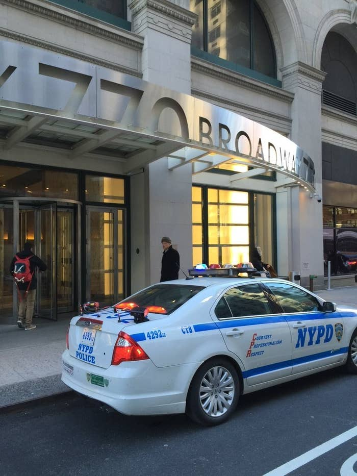 NYPD car with CTB (Counter-Terrorism Bureau) decal outside of Facebook's office