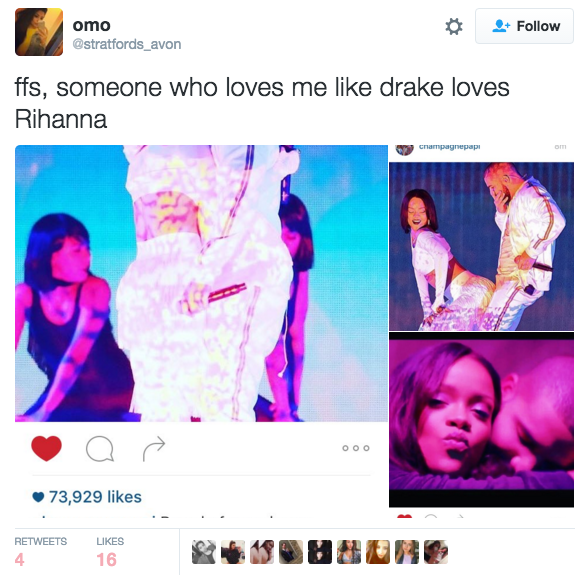 "And since the release of the new video for Rihanna's single ""Work"", many people have noticed that it's basically a 7-minute clip of Drake falling madly in love with her."