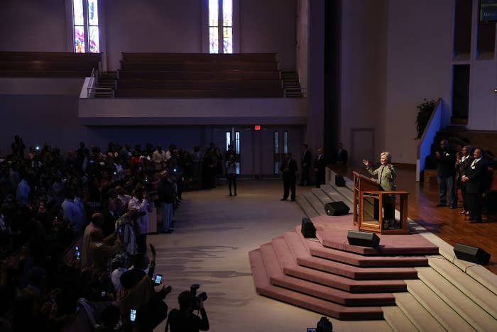 Hillary Clinton speaks a the Greater Imani Cathedral in Memphis, Tenn.