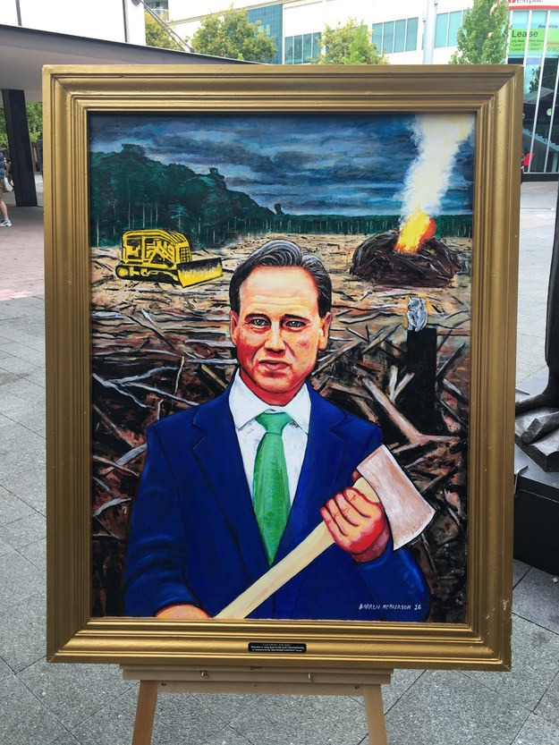 Environment groups have banded together and commissioned this terrifyingly beautiful portrait of the world's ~best~ minister, Greg Hunt.