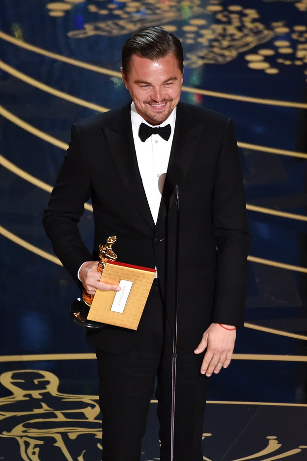 "Your ""Leo Deserves an Oscar"" days are over, people. Actor and babe Leonardo DiCaprio finally won his first Oscar after six nominations. SIX. FUCKING. NOMINATIONS."
