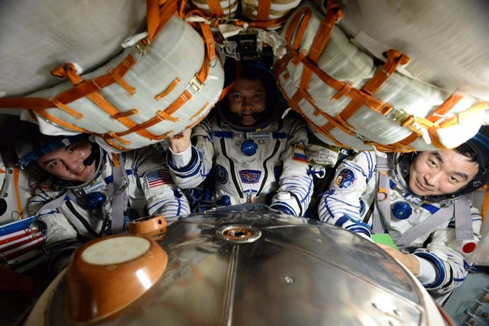 A Soyuz is a capsule that the Russian space agency uses to ferry people to and from the station. Things get pretty tight inside.