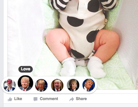 Why? Who knows. Don't ask WHY. What better way to show your friend you love their baby photo than with Donald's loving face?