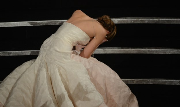 When it comes to the Oscars, Jennifer Lawrence is famous for being super adorable and relatable and falling a lot.