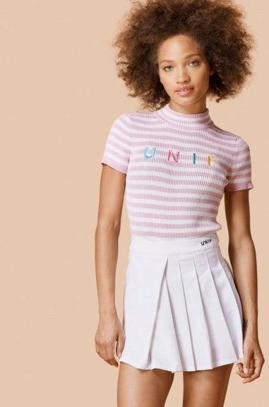 UNIF Lenny Pastel Striped Knit Top
