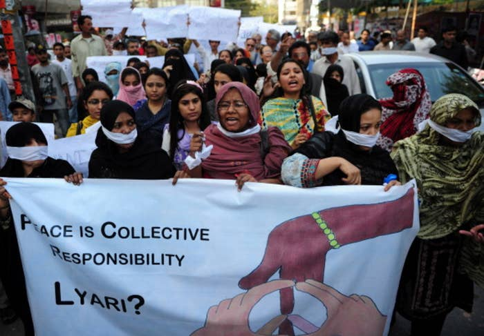 March, 2014: Lyari residents protest after gang violence killed 16 people.