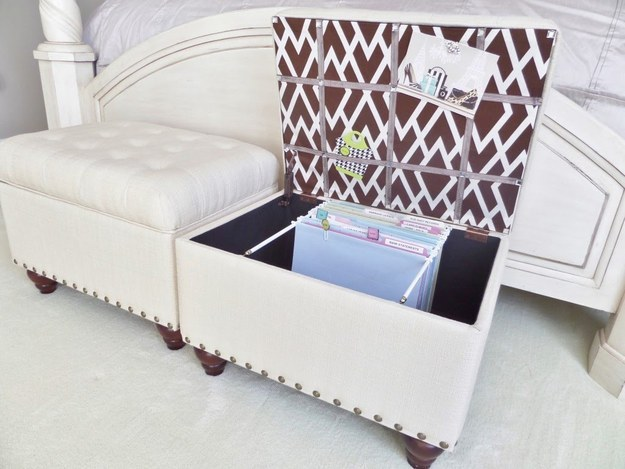 These ottomans that are secretly filing cabinets: