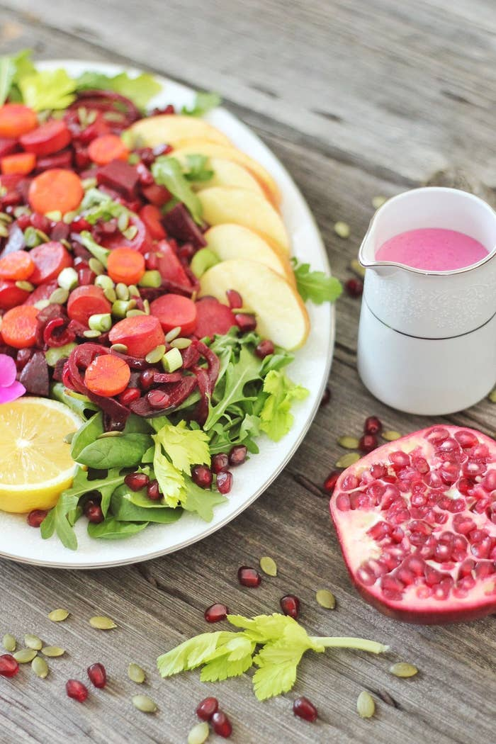 New Year Detox Salad with Pink Tahini Dressing combines nourishing winter produce and tons of plant-based protein -- all in one huge superfood salad! Oh, and the dressing is bright pink. Get the recipe!