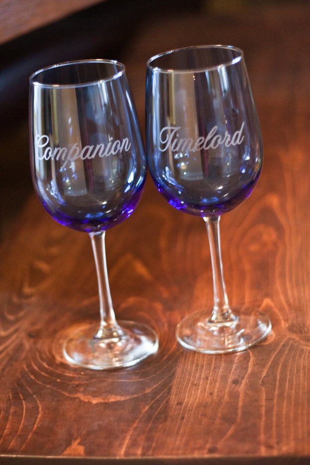 These etched wineglasses for you and your partner.