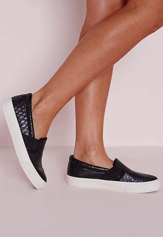 These black faux crocodile slip ons for $34.00.