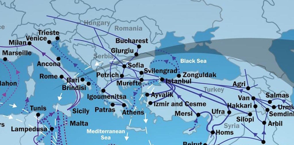 The routes refugees are using to enter Europe