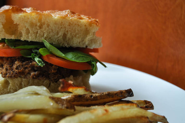 Monday: Black Bean Burger and Oven Fries