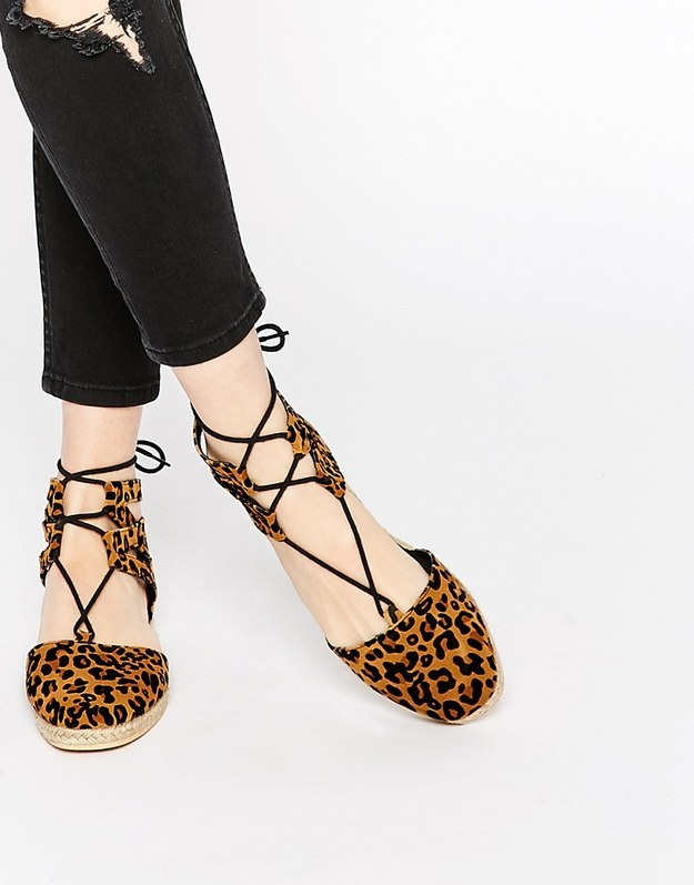 These fierce cheetah print lace-up espadrilles for $28.00.