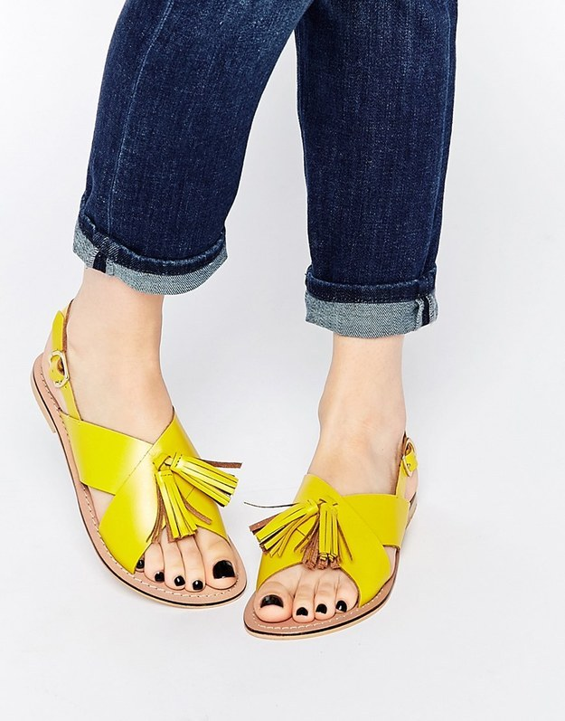 These spunky tasseled sandals for $38.00.
