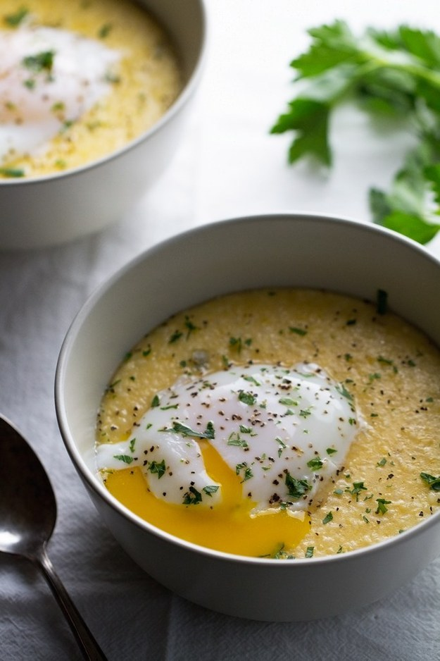 Jalapeno Cheddar Grits with Poached Eggs