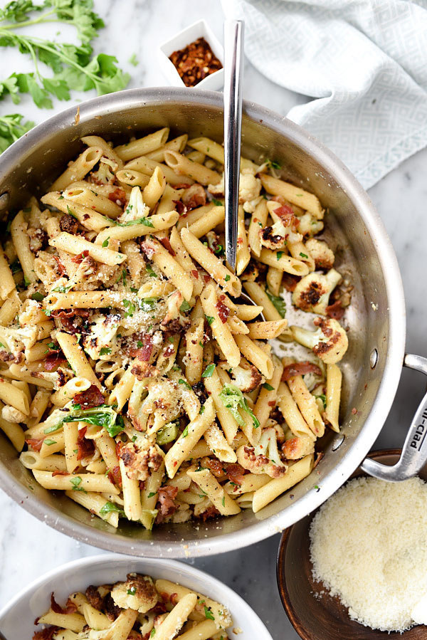 Penne Pasta with Cauliflower and Pancetta