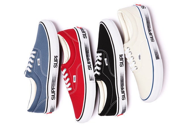 Supreme puts a simple graphic on the sole of the iconic Era sneaker. Available March 3 from Supreme.