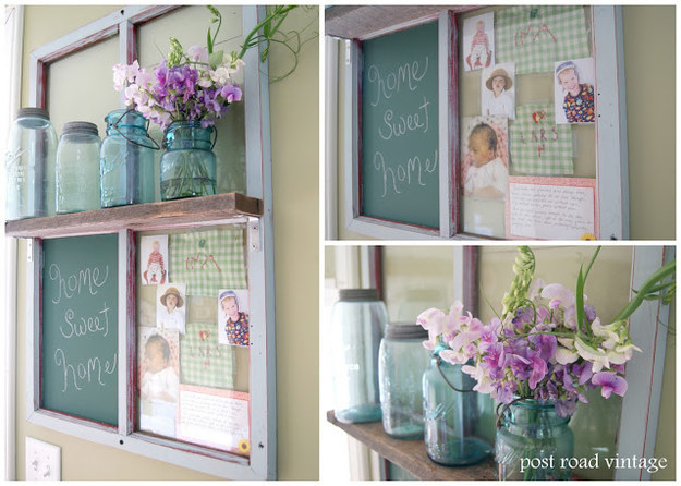 This window pane transformed into a photo collage, shelf, and message station: