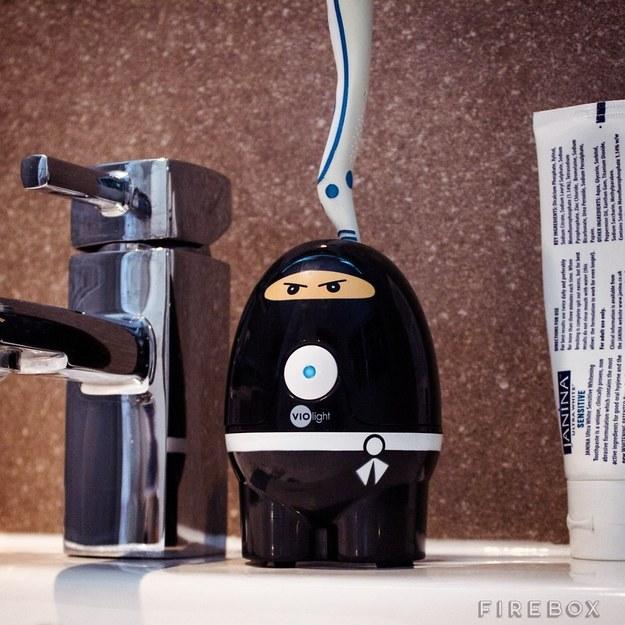 This daring ninja toothbrush sanitizer.