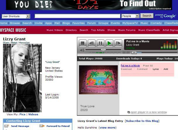 When Lana Del Rey was on Myspace her name was Lizzy Grant because that is her real name.