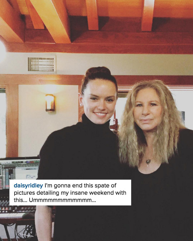 In the most random news ever, Daisy Ridley hit up the recording studio with Barbra Streisand on Saturday, as revealed in an Instagram post by Daisy.