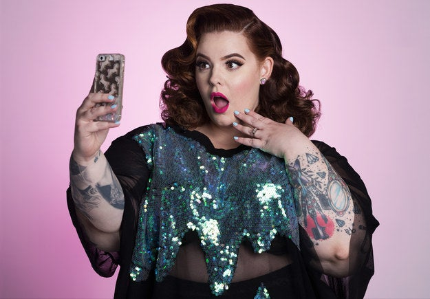 """In addition to starting Eff Your Beauty Standards (a campaign to increase public representation of diverse bodies by encouraging people to share """"unapologetic"""" photos of themselves), Holliday's resume includes landing the cover of People as well modeling for brands like H&M, Torrid, Addition Elle, and Monif C."""