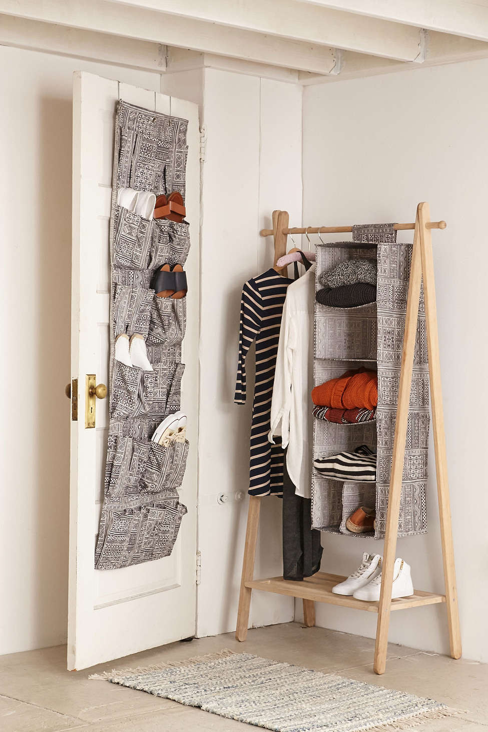 use overthedoor shoe bags to keep your shoes or even cleaning supplies organized