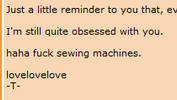 it says haha fuck sewing machines
