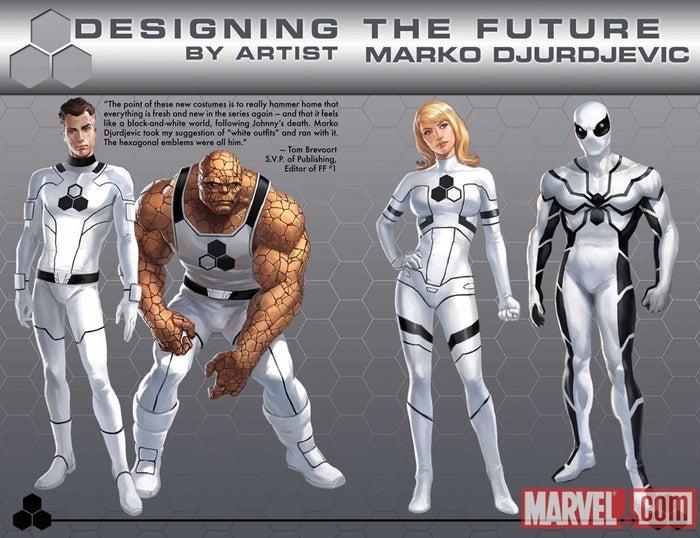 En ese entonces se llamaban Future Foundation y usaban trajes blancos. Spider-Man se unió al equipo después de la muerte de Johnny Storm (la Antorcha Humana).