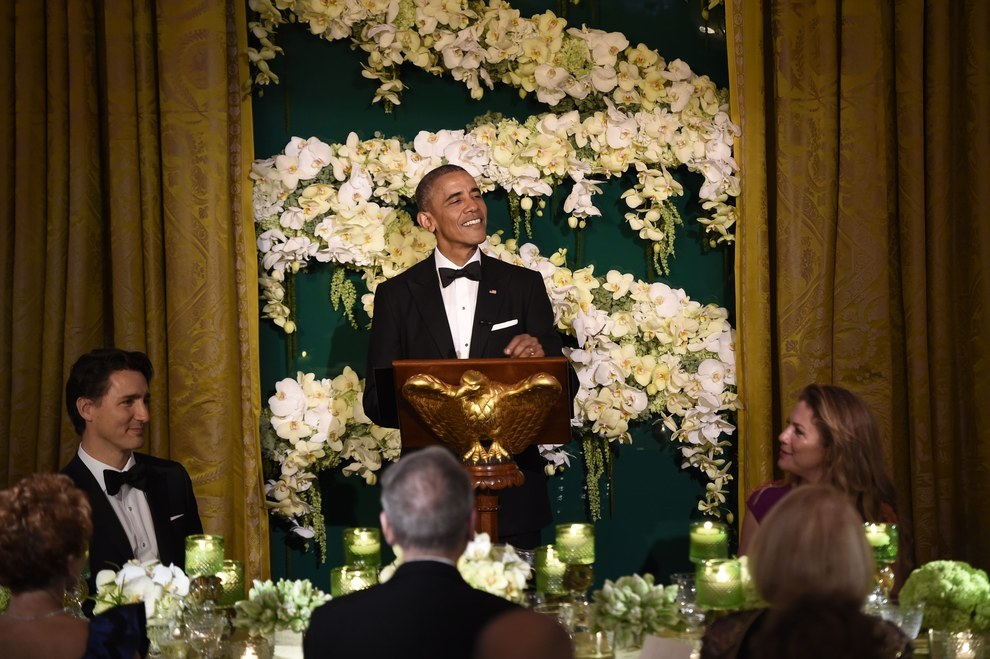 The two leaders gave speeches celebrating the friendship between Canada and the United States.