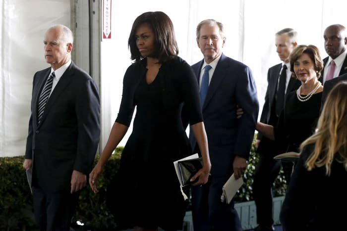 California Governor Jerry Brown (L-R), U.S. first lady Michelle Obama, former president George W. Bush and former first lady Laura Bush.