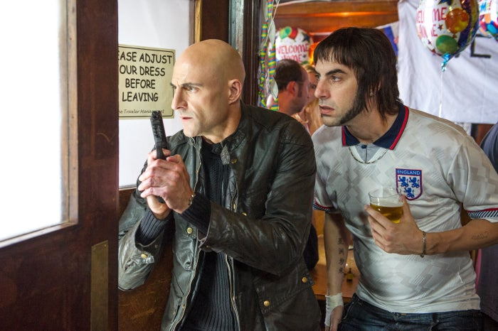 Mark Strong and Sacha Baron Cohen in The Brothers Grimsby.