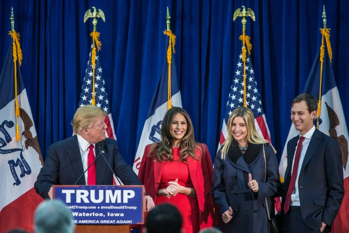 Donald Trump onstage with his wife, Melania Trump; daughter Ivanka Trump; and son-in-law Jared Kushner at a campaign rally in February.